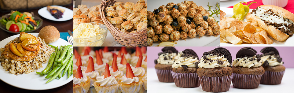 Wide array of catering dishes, appetizers and desserts
