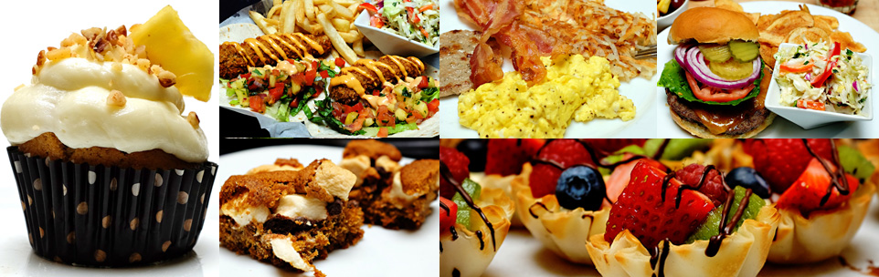 collage of seasonal desserts, lunches and buffet options