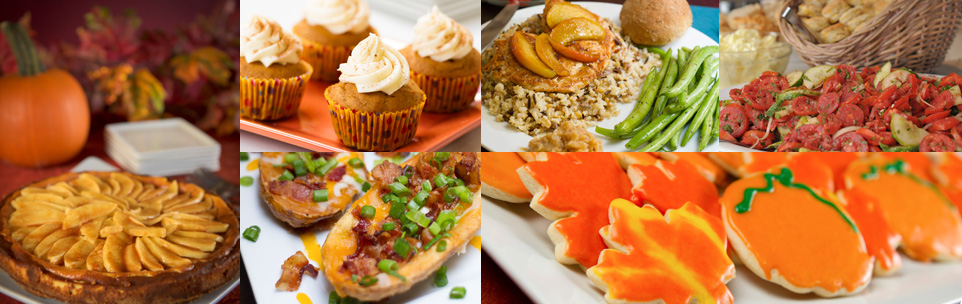 collage of fall seasonal food including potato skins, apple pies, pumpkin and leaf shaped cookies and chai spice cupcakes