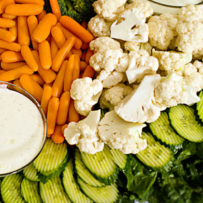 fresh vegetable platter with ranch dip